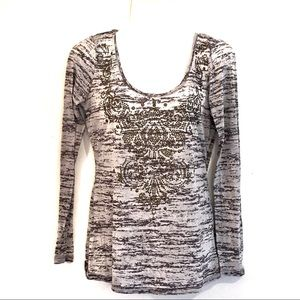 Cache Studded Embellished Deco Style Burnout Tee-M
